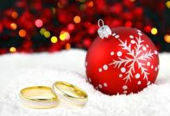 Christmas decoration and two wedding rings